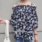 Off-shoulder Print Elbow-sleeve Top