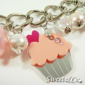 Pink Cupcake Swarovski Crystal Charm Silver Bracelet