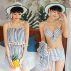 Set: Striped Bikini Top + Shorts + Fringed Playsuit