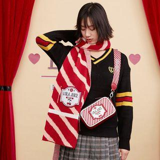 Lettering Striped Knit Scarf Red & White - One Size