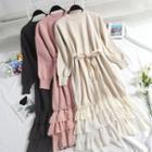 Tiered Hem Midi Sweater Dress