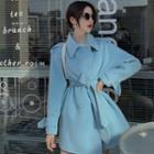 Plain Jacket With Sash Blue - One Size