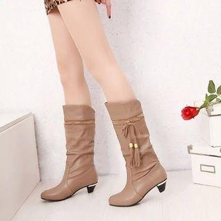 Tassel Ruched Tall Boots