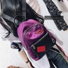 Lip Embroidered Nylon Backpack