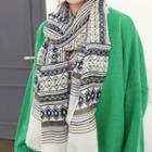 Fray-hem Patterned Scarf