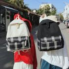 Plaid Panel Canvas Backpack