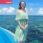 Frilled Off-shoulder Chiffon Dress