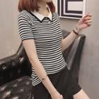 Striped Collared Short Sleeve Knit Top