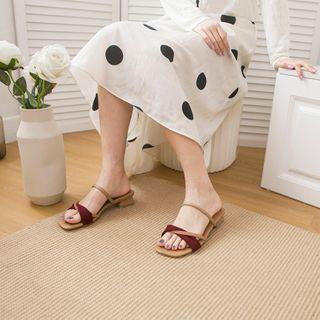 Low Heel Square-toe Slide Sandals
