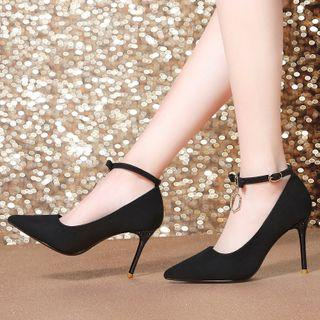 Pointy Toe Ankle Strap High Heel Pumps