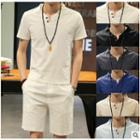 Set: Plain V-neck Short-sleeve T-shirt + Shorts