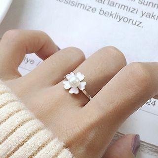 925 Sterling Silver Flower Open Ring K425 - Silver - One Size