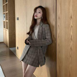 Plaid Double-breasted Blazer / Long-sleeve Top / Mini Pencil Skirt