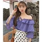 Off-shoulder Tiered Elbow-sleeve Chiffon Top