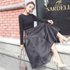 Plain A-line Midi Dress