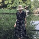 Set: Dotted Short Sleeve Blouse + Midi Skirt