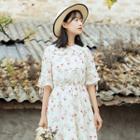 Floral Print Collared Elbow Sleeve Chiffon Dress
