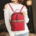Patterned Applique Faux Leather Backpack