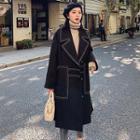 Contrast Stitching Midi Coat