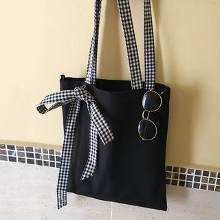 Plaid Bow Accent Canvas Tote Bag
