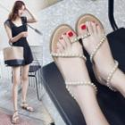 Faux Pearl Loop-toe Sandals
