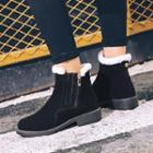 Faux-suede Panel Ankle Boots