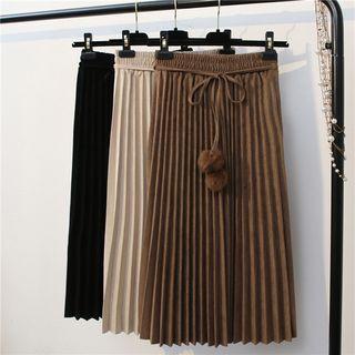 Pleated Pom Pom Midi Skirt