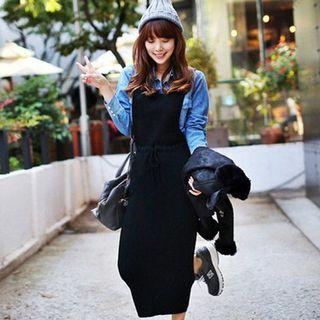 Plain / Striped Midi Knit Pinafore Dress