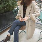 Peaked-lapel Herringbone Wool Blend Coat