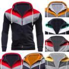 Drawstring Color Block Hooded Jacket