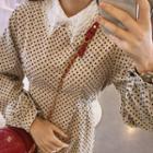 Lace-collar Sheer Top