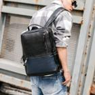 Faux-leather Color Block Backpack