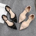 Studded Kitten Heel Ankle Strap Sandals