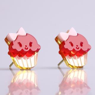 Miss Cupcake Fuchsia Stud Gold Earrings