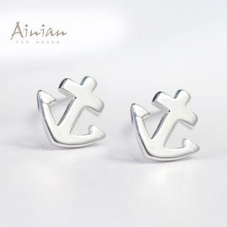 925 Sterling Silver Anchor Stud Earrings