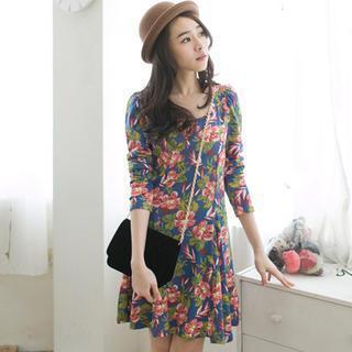 Long-sleeve Floral A-line Dress