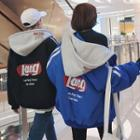 Couple Loose-fit Colorblock Hooded Padded Jacket
