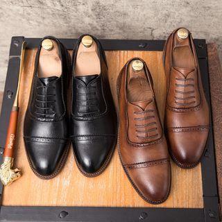 Faux-leather Cutout Lace-up Dress Shoes