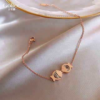 Rhinestone Fish Bracelet Gold - One Size