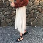 Plain Elastic-waist Pleated Skirt