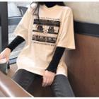 Short-sleeve Printed Loose T-shirt / Long-sleeve Mock-neck Plain T-shirt
