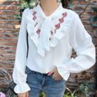 Frill-trim Embroidered Blouse