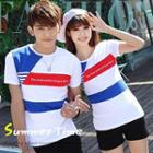 Couple Striped Panel T-shirt