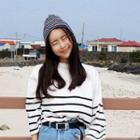 Striped Canle Knit Beanie