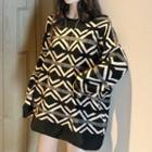Patterned Oversize Sweater Rhombus - Black & White - One Size
