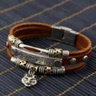 Genuine Leather Skull Bracelet