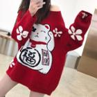Lucky Cat Print Sweater Red - One Size