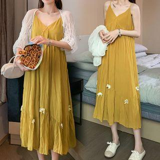 Set: Spaghetti Strap Bow Midi A-line Dress + Shirred-sleeve Cropped Jacket