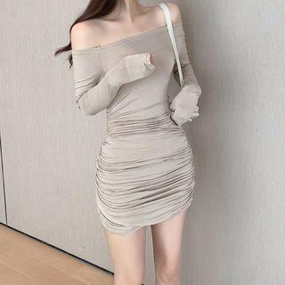 Off-shoulder Long-sleeve Mini Sheath Dress Nude - One Size