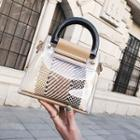 Transparent Handbag With Woven Pouch